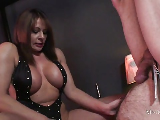 Mistress Teases Slaves Cock Before Handjob And Cum Drinking