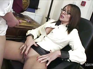 Head Mistress Spanks Students Ass And Makes Him Cum Wanking