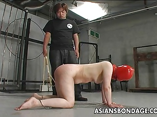 Shackled Japanese Chick Is Spanked Before Sucking A Hard Dic
