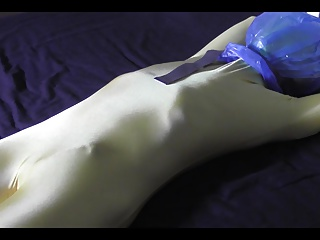 2 Minutes Breathplay Bagging Scene Wearing Gold Catsuit