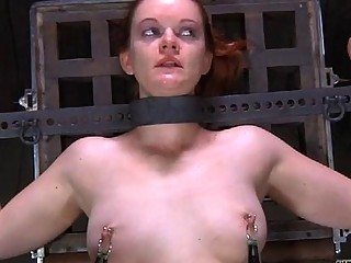 Restrained Gal Is Hoisted Up For Her Sexy Torture
