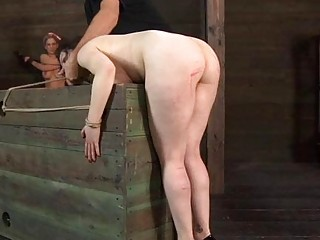 Tied Up Slave Receives Satisfying Her Naughty Twat