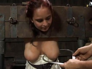 Gagged Beauty With Clamped Nipples Receives Fun