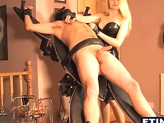 Masochist Blonde With Two Slaves