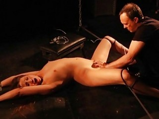 DGirl Restrained On The Floor Is Hard Pussy Toyed