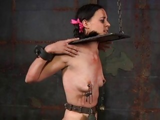 Tied Up Villein Acquires Pleasuring Her Vagina