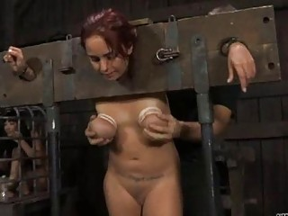 Girl Is Stripping Inside Cage