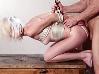 Blond Slut Roped Up And Ripped Real Hard