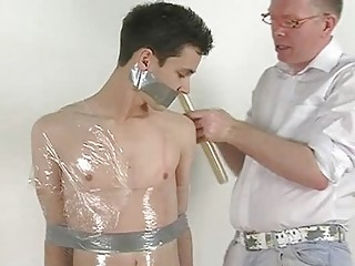 Skinny Dark Haired Gay Gets Tied And Wrapped Like A Mummy