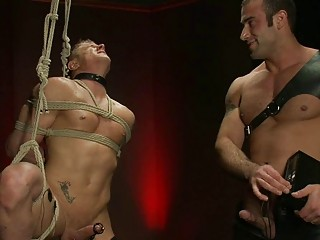 Dark Haired Gay Hunk Dominates Over Tied Humiliated Blonde Hunk