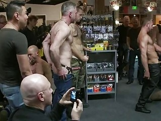 Tattooed Muscled Stud Gets Chained And Dominated In Group Sex