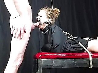 Hardcore Face Fucking With Dental Gag In And A Cum Shot To The Ass.